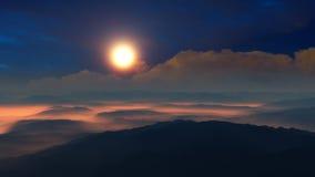 Fantasiökensolnedgång ovanför kullar Arkivfoto