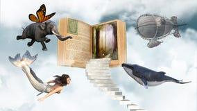 Fantasi böcker, läsning, Storytime, gyckel Fotografering för Bildbyråer