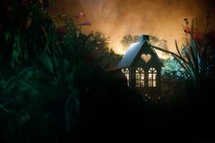 Fantasi dekorerat foto Litet härligt hus i gräs med ljus Gammalt hus i skog på natten med månen Selektivt fokusera arkivbilder