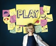 Fantasi för glad njutning för lek drömmer skämtsam begrepp stock illustrationer
