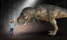 Fantasi gyckel, lek, flicka, Dinoaur royaltyfria foton