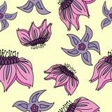 Fantasi hand-dragen blom- sömlös modell stock illustrationer