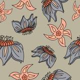 Fantasi hand-dragen blom- sömlös modell royaltyfri illustrationer