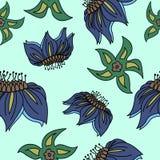Fantasi hand-dragen blom- sömlös modell En illustration för stock illustrationer