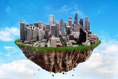 Fantasi som svävar ön av Seattle på en blå himmel Fotografering för Bildbyråer