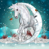 Fantasi Unicorn Winter Equine Art Arkivfoton