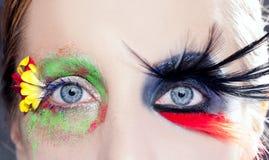 A fantasia assimétrica eyes o pássaro do preto da mola da composição Foto de Stock