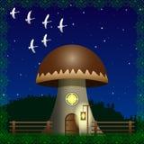 Fantasia, casa di grande fungo illustrazione vettoriale