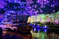 Fantasia de Cherry Blossom e uma embarcação fotografia de stock royalty free