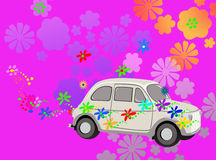 Fantasia dell'automobile del hippie di potenza di fiore Fotografia Stock Libera da Diritti