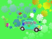 Fantasia dell'automobile del hippie di potenza di fiore Immagini Stock
