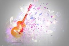 Fantasia della chitarra di frattale con le luci e le bolle Fotografia Stock