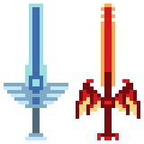 Fantasia della spada dell'icona di arte del pixel dell'illustrazione illustrazione vettoriale