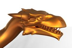 Fantasia Dragon Head dourado Foto de Stock Royalty Free
