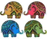 Fantasia estilizado elefantes modelados no estilo indiano ilustração stock