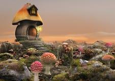 Fantasia feericamente mágica da casa do cogumelo ilustração stock