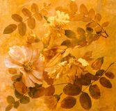 A fantasia floral com cão-levantou-se as folhas Foto de Stock Royalty Free