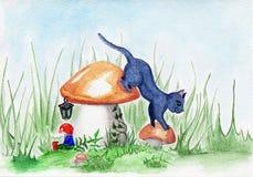 A fantasia mágica do anão e do cogumelo do gato da clareira ajardina Fotos de Stock