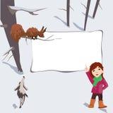 Fantasia, quadro incomum para a inscrição com uma menina e animais ilustração stock