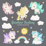 Fantasia Unicorn Characters dell'arcobaleno illustrazione vettoriale