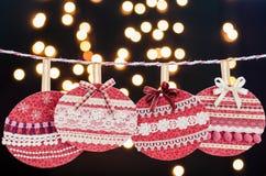 Fantasia vermelha das bolas do Natal e anos novos da celebração. Fotografia de Stock Royalty Free