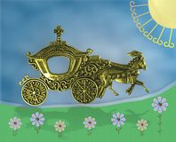 fantasiabstrakt begreppbild Guld- hourses med vagon som uppåt flyttar sig in mot solen Textspace i vagn och i surrondings stock illustrationer