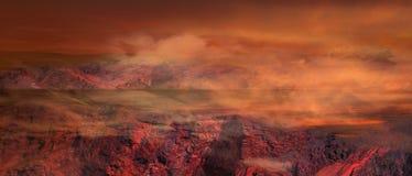 Fantasiapokalyps Illustration av det fantastiska landskapet av den röda planeten Arkivbilder