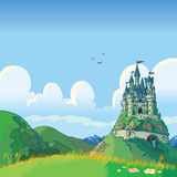 Fantasibakgrund med slottvektortecknade filmen royaltyfri fotografi
