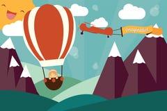 Fantasibegrepp - flicka i luftballong och flygplan Arkivfoto