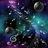 Fantasibildmusik av utrymme med planeter och G-klav Arkivbild