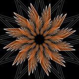 Fantasiblommaform med effekt 3d Orange stjärnaform på svart bakgrund Vektor i fractalstil stock illustrationer