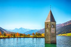 Free Fantasic Autumn View Of Submerged Bell Tower In Lake Resia Stock Photography - 164090812