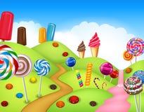 Fantasicandyland med dessrts och sötsaker royaltyfri illustrationer