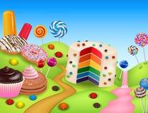 Fantasicandyland med dessrts och sötsaker vektor illustrationer