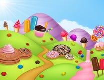 Fantasicandyland med dessrts och sötsaker stock illustrationer