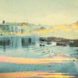 Fantasie-Ökologie-Zusammenfassungs-Hintergrund Stadtlandschaft gemischt mit dem natürlichen auf Papierbeschaffenheit lizenzfreie stockbilder