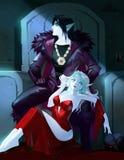 Fantasie Anime-Karikaturillustration von zwei Vampirscharakteren Stockfoto