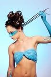 Fantasie-Blau Karosseriekunst des Mädchens stockfoto