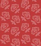 Fantasie bloemen naadloos patroon met de etnische elementen van het stijlhand getrokken blad, wit op donkerrode, vectorillustrati Stock Fotografie