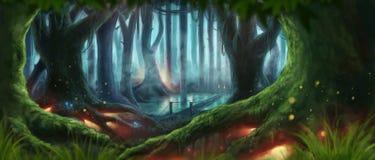 Fantasie bosillustratie stock illustratie