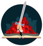 Fantasie-Buch mit Klinge Lizenzfreie Stockbilder