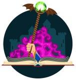 Fantasie-Buch mit magischem Personal Stockfotografie