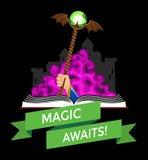 Fantasie-Buch mit magischem Personal Stockfoto