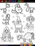Fantasie-Charaktere für Malbuch Stockbild