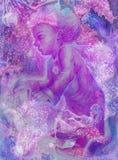 Fantasie de bloemen van weinig feekind amids violett, kunstwerk stock illustratie