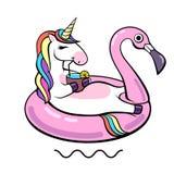 Fantasie dierlijke eenhoorn op flamingo opblaasbare cirkel royalty-vrije illustratie