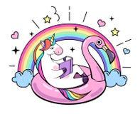 Fantasie dierlijke eenhoorn op flamingo opblaasbare cirkel stock illustratie