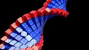 Fantasie DNA-Spirale, die vom Spiel gemacht wird, würfelt auf schwarzem Hintergrund Virusänderung und genetischer Code der Änderu