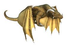 Fantasie-Drache der Wiedergabe-3D auf Weiß Stockfotografie