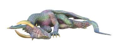 Fantasie-Drache der Wiedergabe-3D auf Weiß Lizenzfreie Stockfotografie